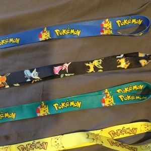Four Pokemon lanyard keychains